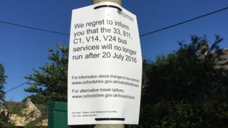 Signs have appeared at bus stops warning passengers of services that will end today
