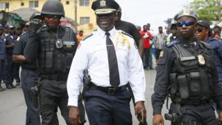 Liberia's police chief Col Patrick Sudue keeping an eye on a demonstration in the capital, Monrovia, Liberia - Monday 12 November 2018
