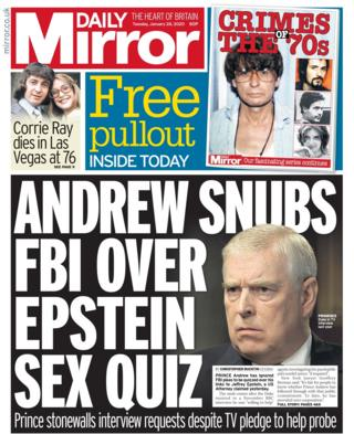 Tuesday's Daily Mirror front page