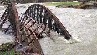 Washed away bridge in Cumbria