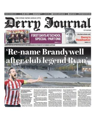 Front page of the Derry Journal