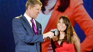 Former USA footballer Alexi Lalas and Maria Komandnaya at the Fox Sports 2018 Fifa World Cup Celebration