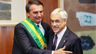 Jair Bolsonaro e Sebastián Piñera em encontro em Brasília