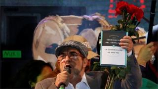 FARC leader Rodrigo Londono speaking in Bogota, at the launch of his political party in September
