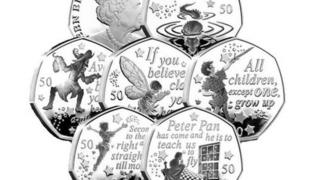 The six coins featuring characters and quotations from Peter Pan