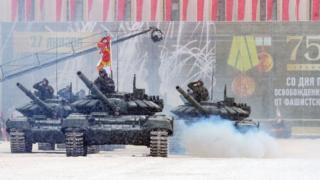 Russian tanks during a military parade in St Petersburg