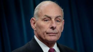Secretary of Homeland Security John Kelly answers questions during a press conference related to President Donald Trump's recent executive order concerning travel and refugees, January 31, 2017 in Washington, DC. On Monday night, President Donald Trump fired the acting Attorney General Sally Yates after she released a statement saying the Justice Department would not enforce the president's executive order that places a temporary ban on citizens from seven Muslim-majority countries.