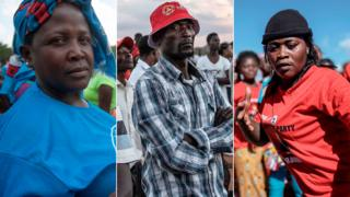 Three Malawians supporting different parties