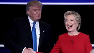 Clinton and Trump after the debate