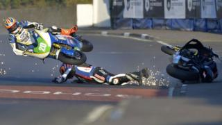 Ryan Farquhar and Dan Cooper crashed in Thursday's Supertwin race at the North West 200