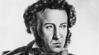 A drawing of Russian poet Alexander Pushkin
