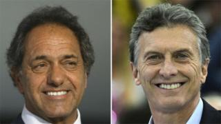 Pictures of the two Argentine presidential candidates: Daniel Scioli (left) and Mauricio Macri
