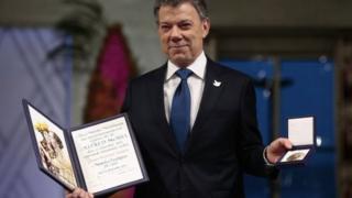 哥倫比亞總統桑托斯獲頒諾貝爾和平獎