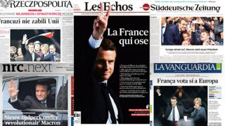 Combo photo of European newspapers reacting to Macron's victory