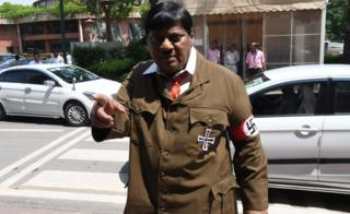 Naramalli Sivaprasad attends parliament dressed as Adolf Hitler on 9 August 2018 in Delhi.