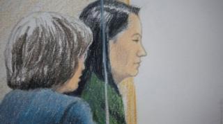 캐나다 밴쿠버 법원에 나온 멍완저우 화웨이 재무책임자