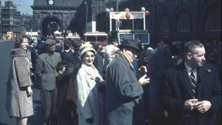 Waiting for the 1963 May Day Parade to start