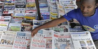 Newspaper stand in Kenya