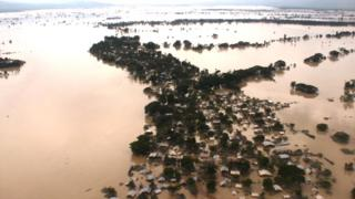 Aerial pictures of one of the worst-affected flood areas in upper Burma, in the town of Kalay