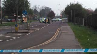 London Road has been closed between Stanford Road and the Butts Lane roundabout while forensics officers collect evidence
