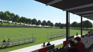 Artist impression of refurbished ground of Pontypool RFC