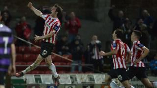 Ryan McBride celebrates scoring a goal for Derry City in 2013