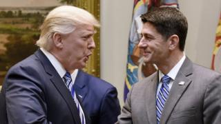 US President Donald J. Trump shakes hands with House Speaker Paul Ryan before a meeting in the Roosevelt Room of the White House, in Washington, DC, USA, 06 June 2017.