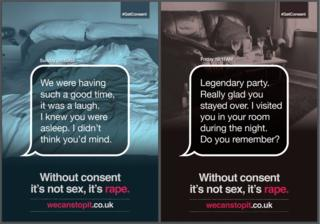 Posters carrying the hashtag #GetConsent