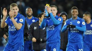 Leicester players applaud fans after beating Liverpool 3-1 during the English Premier League soccer match between Leicester City and Liverpool at the King Power Stadium in Leicester, England, Monday, Feb. 27, 2017.