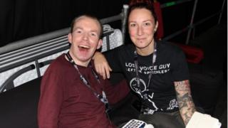 Lee Ridley with his personal assistant Emy Jones