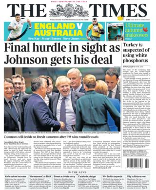 Newspaper headlines: Johnson's plea to MPs after sealing Brexit deal