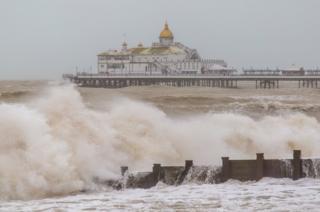 Large waves crashing on the shoreline
