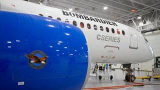 A Bombardier C-Series plane