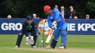 Afghan batsman Dawlat Zadran plays a shot
