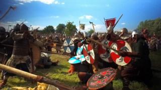 Recreation of Viking battle