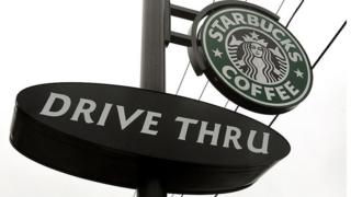A Starbucks drive-through sign in Wheeling, Illinois. December 28, 2005