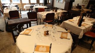 Empty Paris restaurant