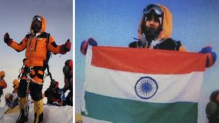 Composite picture showing Indian climber Satyarup Sidhantha on the top of Everest (left) and a version of the same picture believed to have been doctored and used by the Indian couple to make it appear they were on the summit (July 2016)