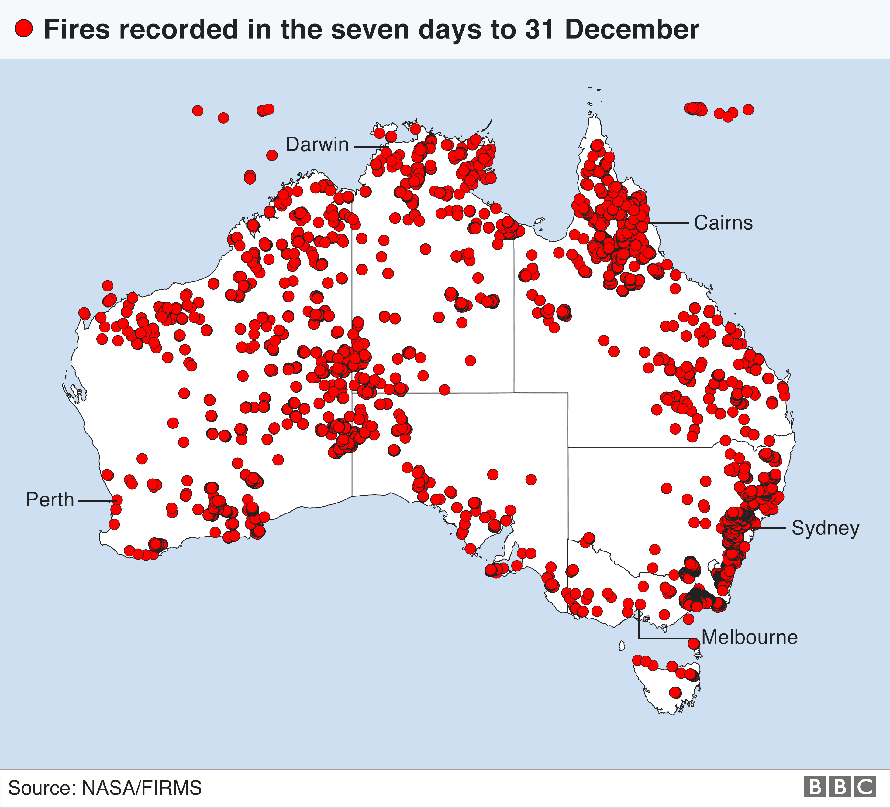 science Map showing location of every fire recorded as active in Australia in the seven days up the 31 December