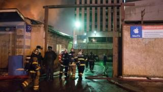 Scene of fire in eastern Moscow on 30 January 2016