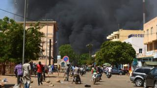 Eight security and eight of di attackers die while 80 people including civilians wound.