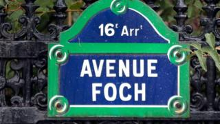 A street sign for Avenue Foch in Paris, the site of luxury Saudi-owned apartments