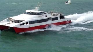 A personal watercraft crashing into a ferry