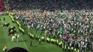 Pitch invasion at Hampden