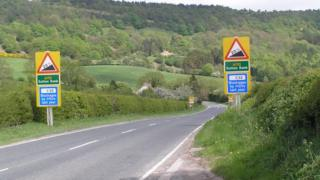 Warning signs on the A170 at Sutton Bank