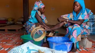 Girls wey dey sieve rice