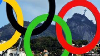 Anillos olímpicos en Río de Janeiro, Brasil.