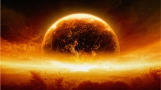 Imagem de explosão na terra
