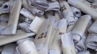Letters to be sorted out in front of the main post office in the capital of Himachal Pradesh