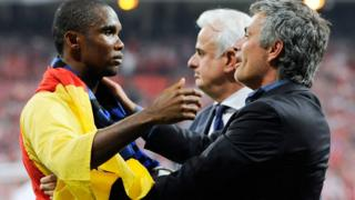 Samuel Eto'o and Jose Mourinho embrace after Inter Milan won the 2010 European Champions League